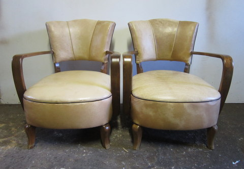 Pair of armchairs sand color 1940s