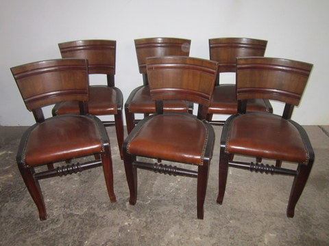 Six chairs Art deco wooden back