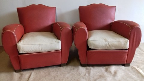 Pair of armchairs 1950 vinyl red and white