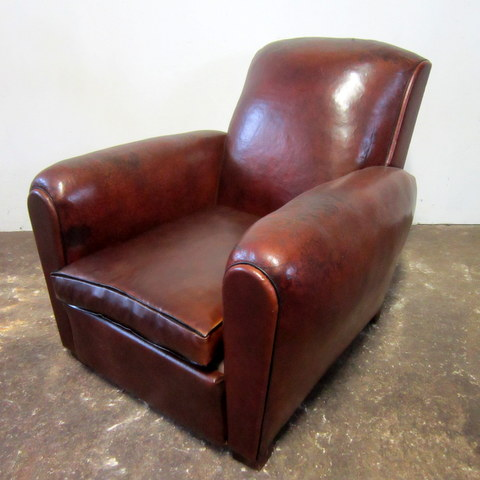 Antique Club Chair with Straight Back
