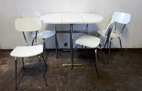 Table and chairs formica white