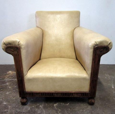 Art Deco cream armchair