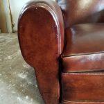 Paire de fauteuils club cuir ancien - Detail 1