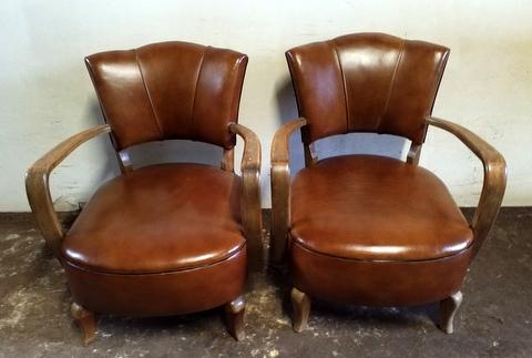 Paire de fauteuils couleur cognac années 1940