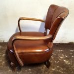 Paire de fauteuils couleur cognac années 1940 - Detail 2